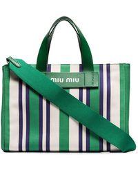 Miu Miu - Striped Canvas Beach Bag - Lyst