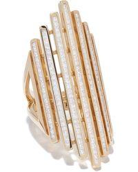 Loree Rodkin 18kt Yellow Gold Long Modern Striped Diamond Ring - Metallic