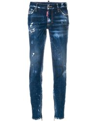 DSquared² Distressed skinny jeans - Azul