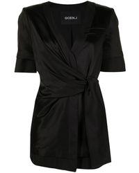 Goen.J Inside-out Short Wrap-blazer - Black