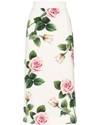 Dolce & Gabbana Charmeuse フローラル スカート - ホワイト