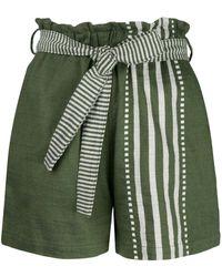 lemlem Eshe High Rise Shorts - Green