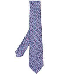 Kiton Corbata con estampado de círculos - Azul