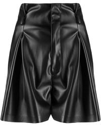 Liu Jo Pleated-waist Faux Leather Shorts - Black
