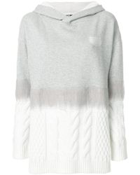 Karl Lagerfeld - Cable Knit Mix Hoodie - Lyst