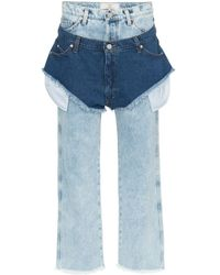 Natasha Zinko High Waisted Jeans With A Denim Shorts Layer - Blauw