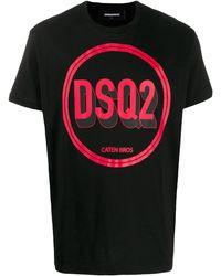 DSquared² T-Shirt mit Logo-Print - Schwarz