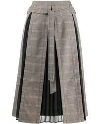 ROKH Falda midi con paneles en contraste - Negro