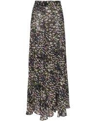 Ganni Floral Print Frilled Hem Maxi Skirt - Black