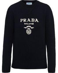 Prada インターシャ ロゴ セーター - ブルー