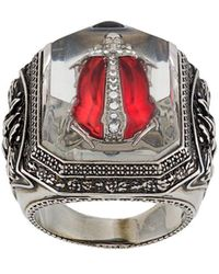 Alexander McQueen Embellished Bug Engraved Ring - Metallic