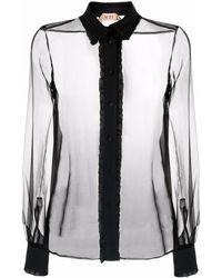 N°21 ラッフル シアーシャツ - ブラック