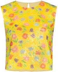 BERNADETTE Floral-print Sequinned Top - Yellow