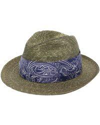 Etro Соломенная Шляпа С Узором Пейсли - Зеленый
