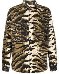 DSquared² Tiger-print Cargo-pocket Shirt - Multicolour