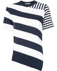 Cedric Charlier Striped Asymmetrical Knit Top - White