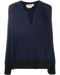 Marni Cut-out Knitted Sweater - Blue