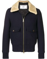 AMI Shearling-trimmed Aviator Jacket - Blue
