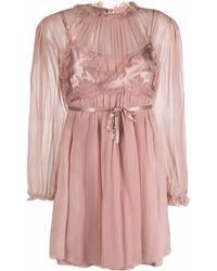 Alberta Ferretti ブラレットオーバーレイ ドレス - ピンク