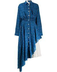 Natasha Zinko Check Asymmetric Shirt Dress - Blue