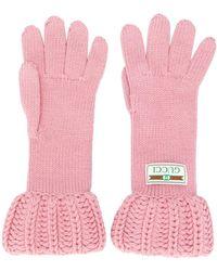 Gucci Grofgebreide Handschoenen - Roze