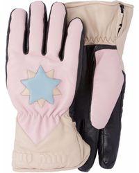 Miu Miu ロゴパッチ 手袋 - ピンク