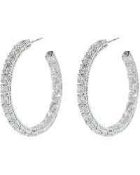 Bayco 18kt White Gold Medium Round Diamond Hoop Earrings - Metallic
