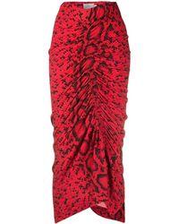 Preen By Thornton Bregazzi Yadinna Snakeskin Print Skirt - Red