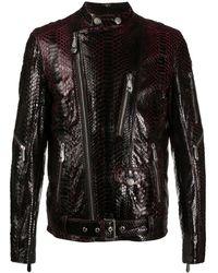 Philipp Plein Pythonskin-effect Biker Jacket - Black