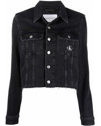 Calvin Klein ロゴパッチ デニムジャケット - ブラック