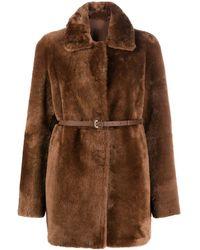 DESA NINETEENSEVENTYTWO Reversible Shearling Coat - Brown