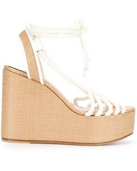 Casadei Strappy Rope Wedge Sandals - White