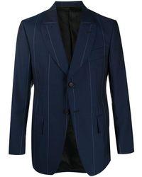 Lanvin ストライプ シングルジャケット - ブルー