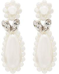 Simone Rocha Sterling Silver Flower Teardrop Pearl Earrings - Metallic