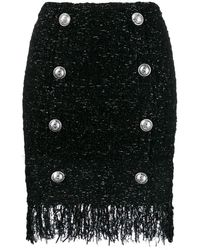Balmain Fringed Tweed Skirt - Black