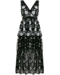 Self-Portrait Floral-sequinned V-neck Tiered Dress - Black