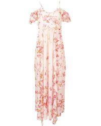 Twin Set Vestido largo con estampado de mariposas - Rosa