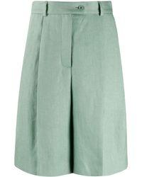 Mrz Off-centre Button Shorts - Green