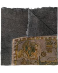Avant Toi Embroidered Knitted Scarf - Grey