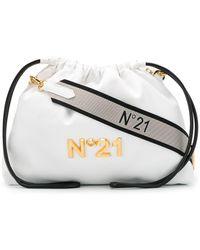 N°21 Logo Plaque Drawstring Shoulder Bag - White