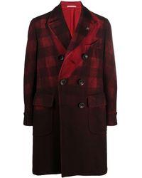 Gabriele Pasini Двубортное Пальто В Клетку - Красный