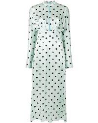 Raquel Diniz Yang Polka-dot Silk Dress - Green