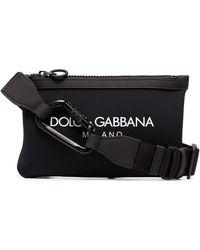 Dolce & Gabbana Riñonera con logo estampado - Negro