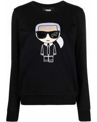 Karl Lagerfeld Karl スパンコール スウェットシャツ - ブラック