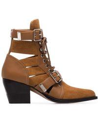 Chloé Rylee Ankle Boots Aus Veloursleder Und Leder Mit Cut-outs - Braun