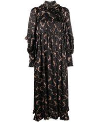 Paco Rabanne Floral Print Ruffle Detail Dress - Black