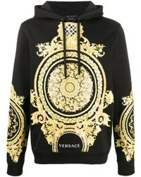 Versace Le Pop Classique Baroque-print Cotton Hoodie - Black
