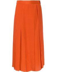 JOSEPH Charlie Pleated Houndstooth Skirt - Orange