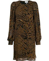Ganni タイガープリント ドレス - ブラウン
