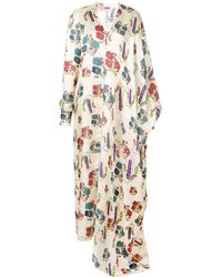 Maison Rabih Kayrouz Robe longue imprimée - Blanc